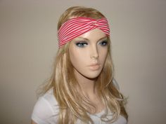 Red white Striped Turban Headband jersey twist by OtiliaBoutique, $12.00