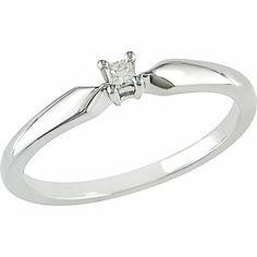 Miabella Princess Cut Diamond Accent Sterling Silver Solitaire Ring