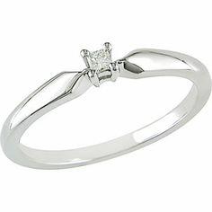 16 CT TW Diamond Three Stone Promise Ring in 10K White Gold