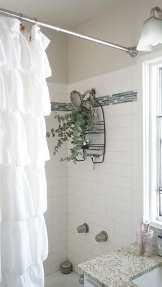 Learn the benefits of tying eucalyptus to your shower head with www.goingzerowaste.com Family Bathroom, Small Bathroom, Shower Head Reviews, Eucalyptus Shower, Shower Panels, Living At Home, Home And Deco, Walk In Shower, Shower Heads