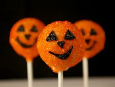 Hi there, pumpkin! Halloween just got a little sweeter with these sugar-coated jack-o'-lantern cake pops. S...