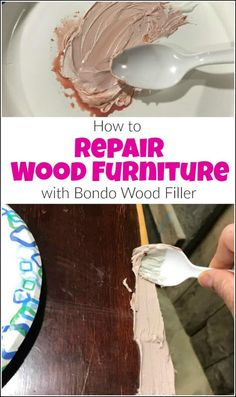 refinishing furniture Bondo wood filler works great to repair wood furniture. I would consider it the best wood filler ever. See how to use bondo as a wood filler for lasting results. Repair Wood Furniture, Wood Repair, Refurbished Furniture, Handmade Furniture, Repurposed Furniture, Unique Furniture, Furniture Projects, Rustic Furniture, Furniture Makeover