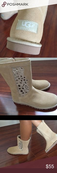 UGG boots Authentic  Super cute matches everything full fur on heel and sole .Wear with different color boot cuffs to match every outfit the design pops out the color you wear .Simply smart from UGG latest fashion UGG Shoes Ankle Boots & Booties