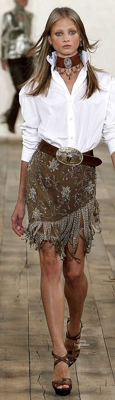 If only there was a LOVE button on pinterest! --  Ralph Lauren - fringe on earthtone fabrics -- leave it to RL ~ superior Western Flair!: