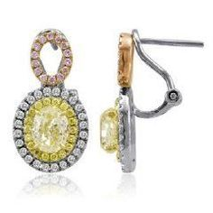 Blount Jewels 3.08 Ct Tri-color Fancy Diamond Dangling Earrings (rd 0.35ct, Pink 0.17ct, Fyrd 0.25ct, Fyov 2.31ct)
