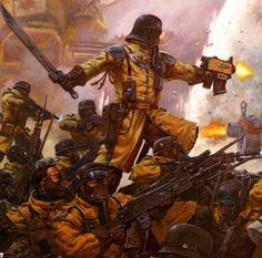 Imperial Guard - Warhammer 40k - Astra Militarum - Armageddon Steel Legion - Bolt Pistol - Power Sword