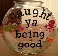 Put a pom pom, marble, etc. in this every time your child does something good or kind. Reward them when it's full :)