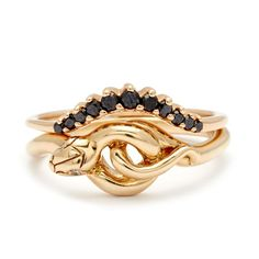 Shop Anna Sheffield's unique engagement rings and fine jewelry. Specializing in rose gold, champagne and black diamond bespoke jewelry designs. Black Diamond Bands, Diamond Rings, Black Diamonds, Snake Jewelry, Fine Jewelry, Anna Sheffield, Snake Ring, Bespoke Jewellery, Diamond Gemstone