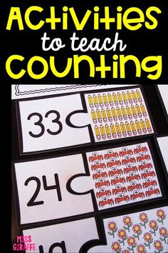 Fun activities to teach counting objects! Number Sense Activities, Number Games, Kindergarten Math Worksheets, Maths, Roman, Counting Activities, Learning Numbers, First Grade Math, Math Class