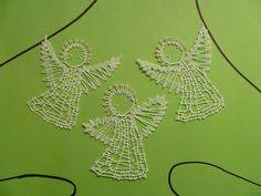 Andílci / Zboží prodejce ajvi | Fler.cz Bruges Lace, Bobbin Lace Patterns, Lace Design, Tatting, Xmas, Tapestry, Crochet, Decor, Bobbin Lace