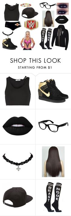 """""""Elle Rollins is now teaming with Dana Brooke"""" by fashionbabe-1738 ❤ liked on Polyvore featuring Helmut Lang, NIKE, Lime Crime, Ray-Ban and Vans"""