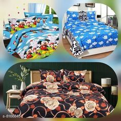 Bedsheets Microfiber Printed Double Bedsheet Combo 90 in x 90 Fabric: Microfiber No. Of Pillow Covers: 6 Thread Count: 160 Multipack: Pack Of 3 Sizes: Queen (Length Size: 90 in Width Size: 90 in Pillow Length Size: 28 in Pillow Width Size: 17 in)  Description: It Has 3 Piece Of Double Bedsheet With 6 Pieces Of Pillow Covers Country of Origin: India Sizes Available: Queen   Catalog Rating: ★4 (419)  Catalog Name: Gorgeous Classy Bedsheets CatalogID_1357861 C53-SC1101 Code: 556-8166845-5961