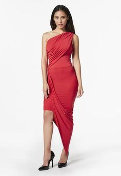 e7a2f4ec14e This ruched dress features a one-shoulder design