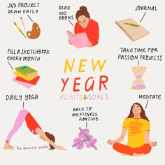 Self-initiated illustration for Instagram of New Year habits and goals.  Monday mornings, the first page of a sketchbook, the beginning of a new year…fresh starts always feel inspiring, invigorating and they always give me that tingly feeling to start creating, to make something, to seize the opportunity of that newness. The Brunette, Morning Habits, Passion Project, First Page, New Instagram, Fresh Start, Mornings, Opportunity, Give It To Me