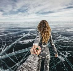 the Lake Baikal, Russia (the photo series by Russian Photographer, Murad Osmann) Lake Photography, Amazing Photography, Travel Photography, Murad Osmann, Waiting Here For You, Lake Baikal, Set Me Free, Walk This Way, Significant Other