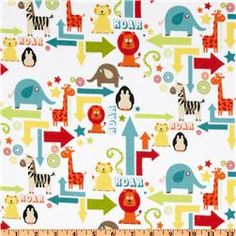 Riley Blake Alphabet Soup Zoo Animals Flannel White
