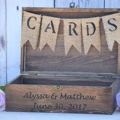 Shabby Chic Wedding Rustic Wooden Card Box Rustic Wedding   Etsy Rustic Card Box Wedding, Wedding Card, Chic Wedding, Wedding Advice Box, Burlap Card, Wooden Card Box, Wishing Well, Custom Engraving, Wedding Decorations