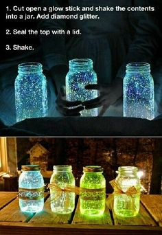 15 Creative Ideas for DIY Birthday Party Decor I love this idea to shed some soft light on the deck! Great for a Party! Very cute idea! The post 15 Creative Ideas for DIY Birthday Party Decor appeared first on Summer Diy. Glow Stick Jars, Glow Sticks, Glow Jars, Fun Crafts, Diy And Crafts, Crafts For Kids, Glow Crafts, Summer Crafts, Camping Crafts