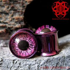 Pink & Purple Eyes Ear Plugs gauged ears 1/2 by PiercedEyeDesign, $23.99