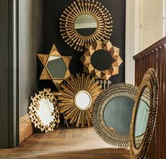 Super Stylish Interiors and Gifts in 2020 Gold Framed Mirror, Small Wall Mirrors, Sunburst Mirror, Arts And Crafts Interiors, Mirror Gallery Wall, Retro Living Rooms, Eclectic Furniture, Frame Wall Decor, Mural Art
