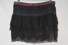 D&G Dolce & Gabbana Size 32/46 or 10 Black Silk & Lace Detail Skirt 2797 ST317    eBay