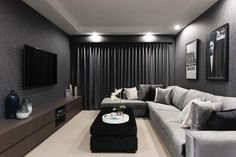 Enjoy movie nights with the whole family in this Home Theatre room. Step into th… Enjoy movie nights with the whole family in this Home Theatre room. Step into the Impression – link in bio. Cinema Room Small, Small Movie Room, Home Cinema Room, Tiny Movie, Home Design, Home Theater Room Design, Home Theater Rooms, Home Theatre, Interior Design