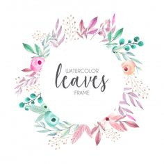 Beautiful frame with watercolor leaves Free Vector Wreath Watercolor, Watercolor Leaves, Watercolor Design, Watercolor Paintings, Bujo Doodles, Tangle Doodle, Free Frames, Boho Theme, Frame Wreath