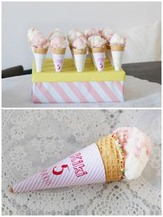 PARTY treats favor Icecream cone with cotton candy Kids Birthday Treats, Teacher Birthday Gifts, Cool Birthday Cakes, Best Birthday Gifts, Birthday Parties, Happy Birthday, Party Treats, Party Snacks, Birthday Greetings For Facebook