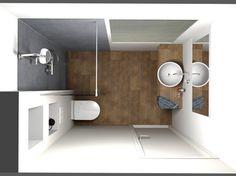 Een kleine badkamer die ruimtelijk oogt.
