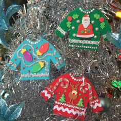 3 Ugly Christmas Sweater Ornaments Reindeer Santa by ChiaChic