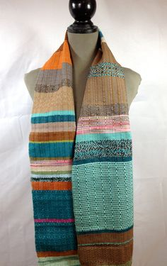 Michelle / Handwoven EXTRA LONG Scarf in Peacock von pidgepidge