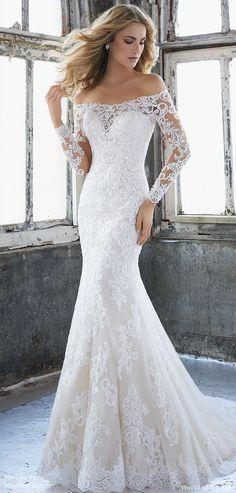 Mori lee by Madeline Gardner Spring 2018 Elegant Fit and Flare Wedding Dress