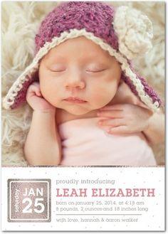 Shining Proud - Girl Photo Birth Announcements - Magnolia Press - Taffy Pink #baby