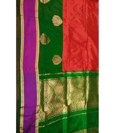 Orange handloom Banarasi Katan Silk Saree-green palloo