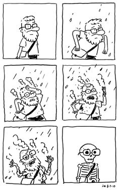 This comic picture reminds me of acid rain because he is burnt by the rain. Although it is a little 'dark' it's funny and helps me remember acidic rain.