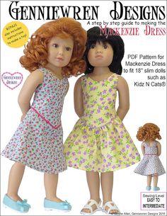Pixie Faire Genniewren Designs Mackenzie Dress Doll Clothes Pattern for Kidz N Cats Dolls - PDF