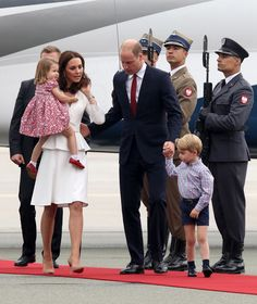 Catherine, Duchess of Cambridge and Prince William, Duke of Cambridge with their children Princess Charlotte of Cambridge and Prince George of Cambridge as they arrive on day 1 of their offical visit to Poland on July 17, 2017 in Warsaw, Poland.