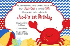 Crab Beach Theme Personalized Birthday by PartyCreations4u on Etsy, $7.00