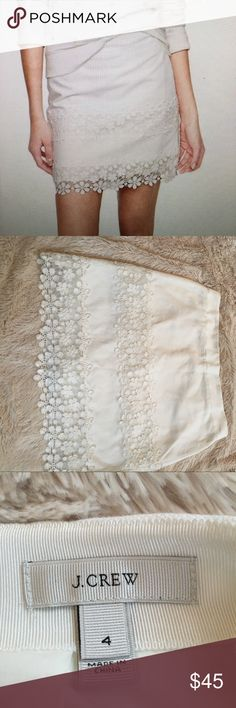 J.Crew daisy lace mini skirt This is a beautiful J.Crew daisy lace white miniskirt 100% cotton lace trim. It is in excellent condition worn only once very pretty J. Crew Skirts Mini