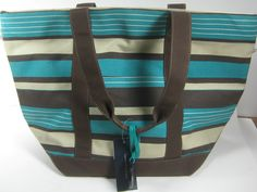 New With Tags Tommy Hilfiger Large Striped Canvas Tote Bag Beach Travel Purse | eBay
