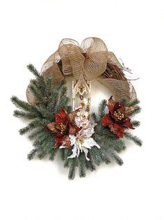 Nativity Wreath, Christmas Wreath, Winter Wreath, Burlap Wreath, Holiday Wreath, Poinsettia Wreath, Baby Jesus, Christ Is Born, Wreath on Etsy, by Adorabella Wreaths!