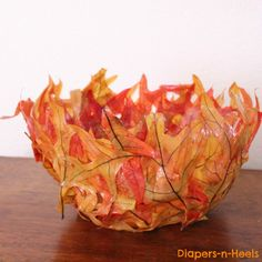Leaf Bowl {DIY} - made with fall leaves. Fun for kids and also a great scout project