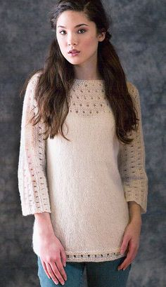 Free Knitting Pattern for Pacific Pullover - Long-sleeved pullover sweater with a eyelet lace yoke, hem, and sleeves. Sizes Finished Bust Measurements: Designed by Alison Green for Berroco. Lace Knitting Patterns, Lace Patterns, Knitting Designs, Free Knitting, Knitting Charts, Diy Crochet Cardigan, Crochet Scarf Easy, Knit Crochet, How To Purl Knit
