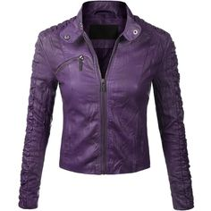BIADANI Women Faux Leather Moto Biker Detail Jacket ($32) ❤ liked on Polyvore featuring outerwear, jackets, purple, biker jacket, purple jacket, synthetic leather jacket, vegan leather jacket and vegan jackets
