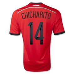 cdd3e145489 Adidas Chicharito  14 Mexico 2014 FIFA World Cup Brazil Red Away Soccer  Jersey