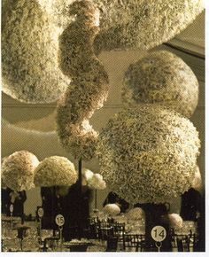 David Stark's recycled shredded paper topiaries adorning the tables at the Cooper-Hewitt National Design Museum's 2007 Awards Dinner.