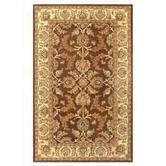 Traditional Brown and Ivory Rectangular: 5 Ft. x 8 Ft. Area Rug