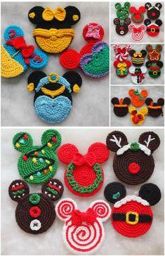 DIY Crochet Disney Ornaments christmas ornaments dollar stores 20 Creative DIY Disney Christmas Ornaments Anyone Can Do Crochet Christmas Ornaments, Christmas Crochet Patterns, Holiday Crochet, Christmas Crafts, Christmas Ideas, Felt Christmas, Crochet Santa, Diy Crochet, Crochet Crafts