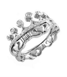 Claddagh Ring - Ladies 14k White Gold Claddagh with Diamonds Irish Wedding Ring