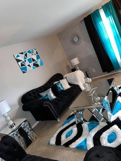 Cute Living Room, Blue Living Room Decor, Glam Living Room, Living Room Designs, Room Ideas Bedroom, Home Decor Bedroom, First Apartment Decorating, Apartment Ideas, Apartment Goals